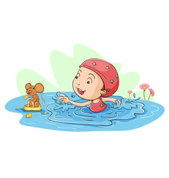 Swimming with a mouse vector image