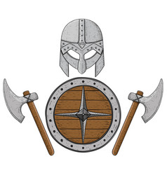 viking axes shield and helmet hand drawn colored vector image