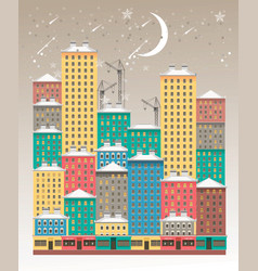 winter night city vector image vector image