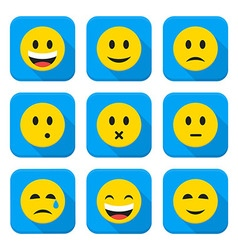 Yellow Smiley Faces Squared App Icon Set vector image