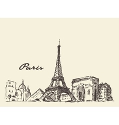 Paris skyline france hand drawn vector