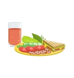 Sandwich vegetables and tomato juice breakfast vector
