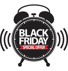 Black friday special offer alarm clock black icon vector