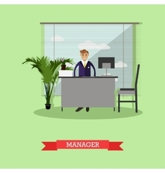 Manager or office worker sitting on chair and vector