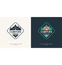 Camping and outdoor adventure retro logo vector