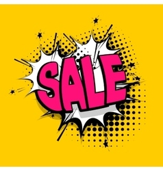 Lettering sale tag comics book balloon vector image