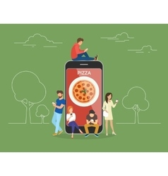 People with gadgets using smartphones outdoors for vector
