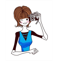 Close-up of woman holding camera vector