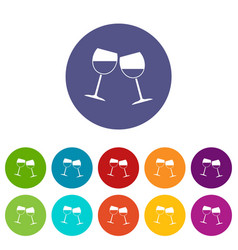 two wine glasses icons set flat vector image