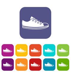 Canvas sneaker icons set vector