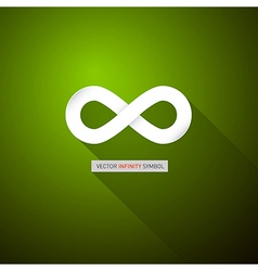 Paper infinity symbol on abstract green background vector