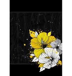 Bouquet of hibiscus on black background vector