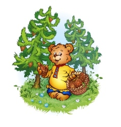 Bruin bear with pine cones vector