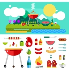 Barbecue and food outdoor objects set vector