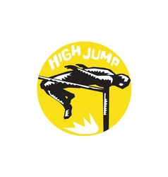 Track and field athlete high jump woodcut vector