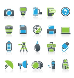 Camera equipment and photography icons vector