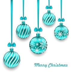 Christmas background with turquoise glassy balls vector