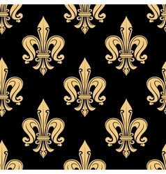 Vintage seamless golden fleur-de-lis pattern vector