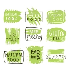 Bio food green lables set vector