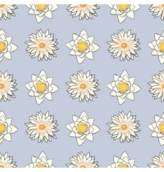 Seamless pattern with flowers lotus water lily vector image
