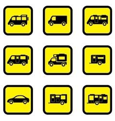 Camper car yellow icon set vector