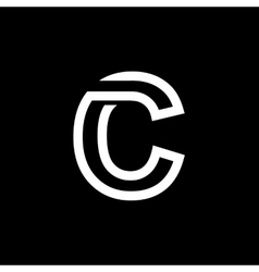 Letter c from the white interwoven strips vector