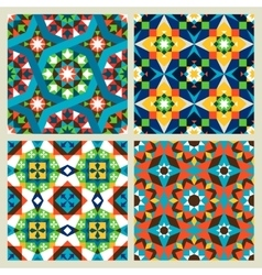 Moroccan mosaic seamless patterns vector