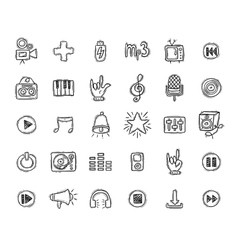 Set of music doodle icons vector