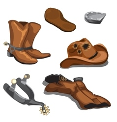 Ripped worn cowboy boots hat and spurs vector