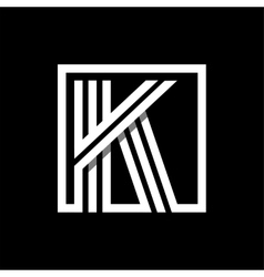K capital letter made of stripes enclosed in a vector