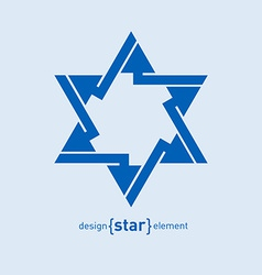 Abstract design element blue star vector image