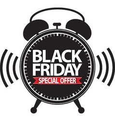 Black friday special offer alarm clock black icon vector