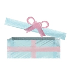 Blue and pink gift box open icon vector