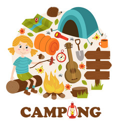 Camping elements and girl vector