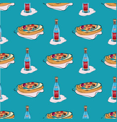 cartoon style hand drawing wine and pizza vector image