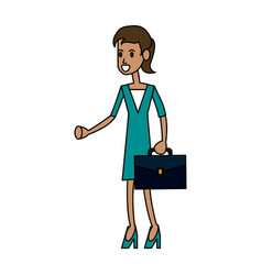 Color image cartoon full body executive woman with vector