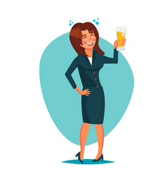 Drunk office woman corporate party funny vector