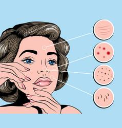 Facial treatmets pop art style vector