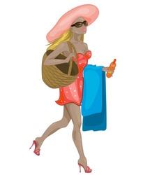 Fashionista beach girl vector