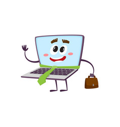 Flat funny laptop character businessman vector