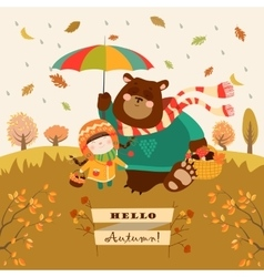 Girl and bear walking under an umbrella in the vector