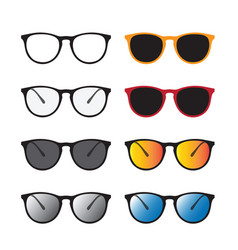 group of an glasses and sunglasses isolated on vector image vector image