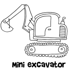 Mini excavator with hand draw vector