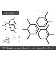 Molecular structure line icon vector