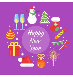 new year 2017 with icons circle 2 vector image vector image