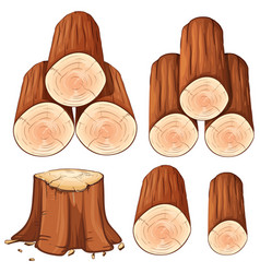 piles of firewood and stump tree vector image vector image