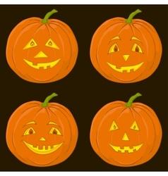 pumpkin jack o lantern set vector image vector image