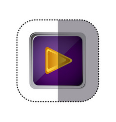 purple emblem play button vector image vector image