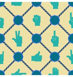 Seamless background with hands and finger icons vector image