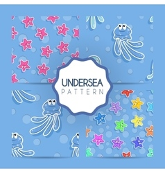 Set of seamless sea pattern with colorful vector image vector image